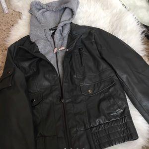 Grey leather jacket with hood